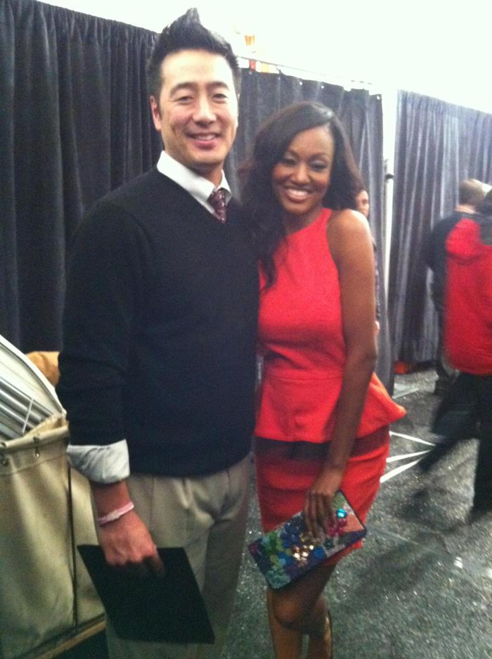 Backstage! New York Fashion Week. Larry Chiang and special friend.